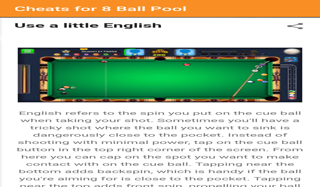 Cheats For 8 Ball Pool: Amazon.es: Appstore para Android