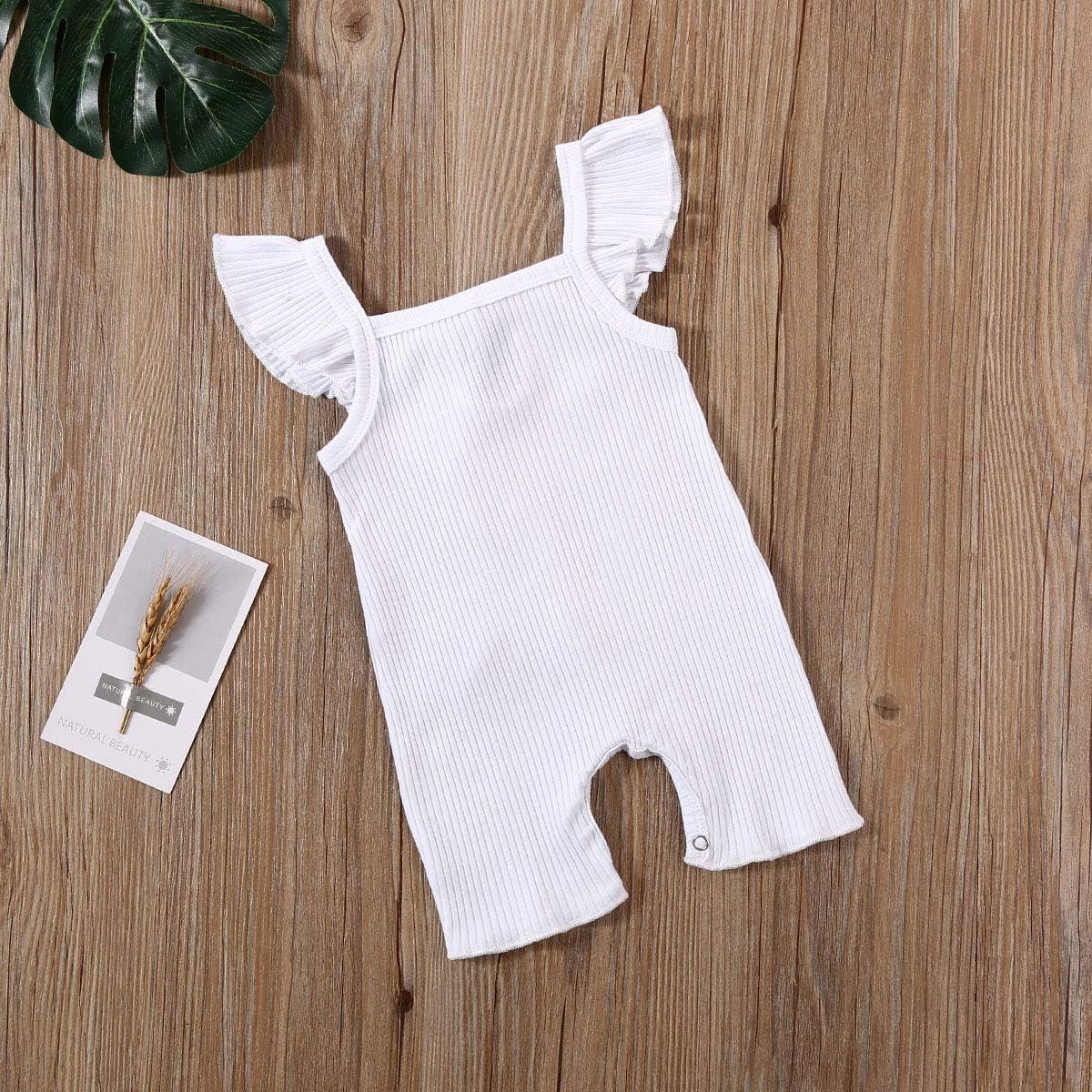 Lamuusaa Baby Girls Boys One Piece Cotton Romper Solid Color Sleeveless Jumpsuit Bodysuit Pajamas Summer Clothes 0-24M