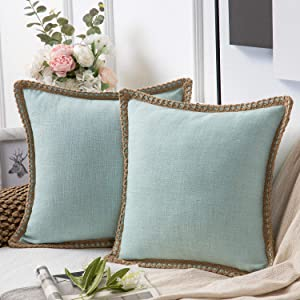 Phantoscope Pack of 2 Farmhouse Decorative Throw Pillow Covers Burlap Linen Trimmed Tailored Edges Light Turquoise 18 x 18 inches, 45 x 45 cm