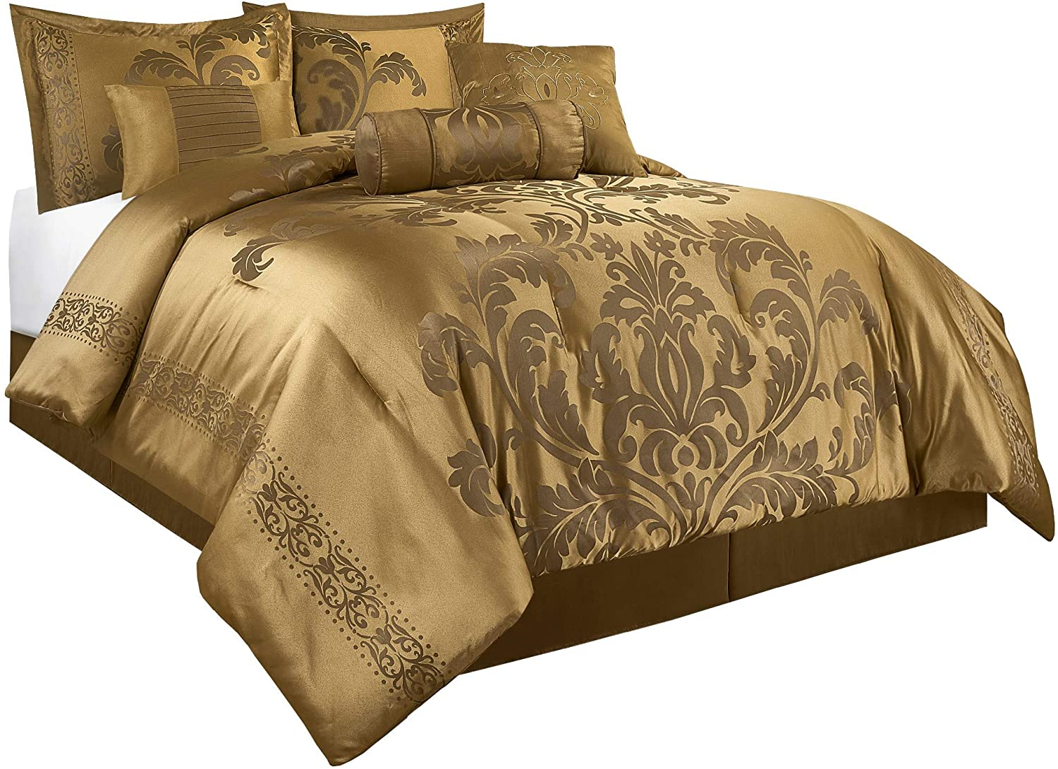 Chezmoi Collection Royale 7-Piece Jacquard Floral Comforter Set (California King, Gold)