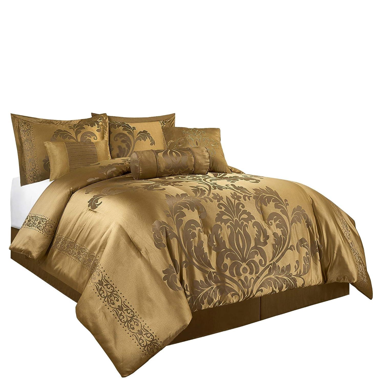 Chezmoi Collection Royale 7-Piece Jacquard Floral Comforter Set (Queen, Gold)