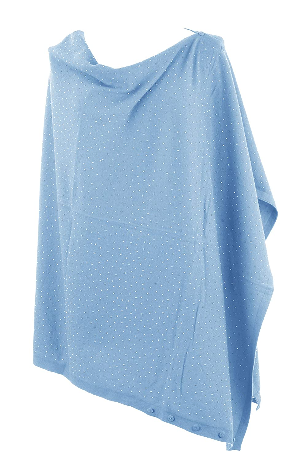 TEXTURE Ladies Womens Lagenlook Stud Diamante Cashmere Feel Modal Knit Button Multiway Poncho Shawl Scarf