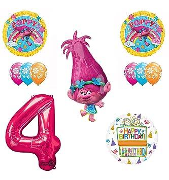 Trolls 4º cumpleaños Suministros de Fiesta y Globos de ...