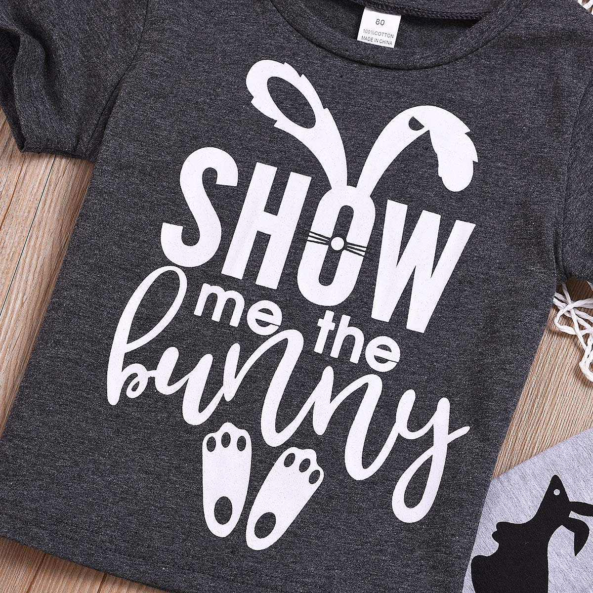Crazydoo Bunny Tops Little Boys Girls Cute Rabbit Print Pant Clothes Set for Kids