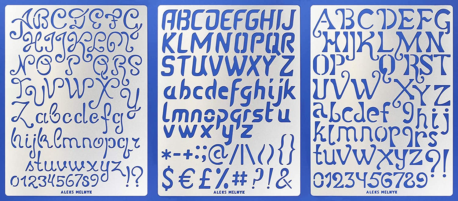 Aleks Melnyk #44 Metal Journal Stencils/Alphabet Letter Number, ABC - 1 inch/Stainless Steel Stencils Kit 3 PCS/Templates Tool for Wood Burning, Pyrography and Engraving/Scrapbooking/Crafting/DIY