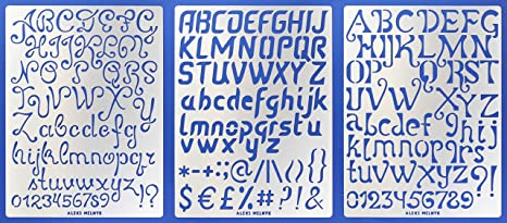 Aleks Melnyk #45 Stencil Metal//Alphabet Letter Number 1 inch//Stainless Steel Planner Set 3 PCS Stencils Journal//Notebook//Diary//Bujo//Scrapbooking//Crafting//DIY Drawing Template Stencil ABC