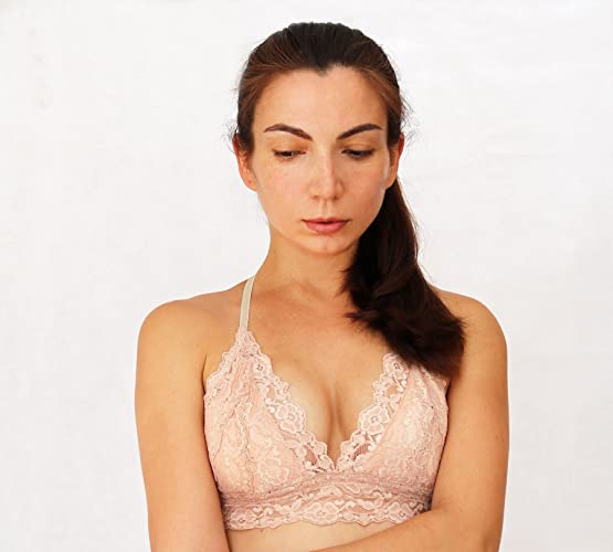 fdb5e08199 Amazon.com  Beige Blush Lace Bralette. Triangle Skin Color Soft Wireless  Bra top. Handmade Lingerie  Handmade