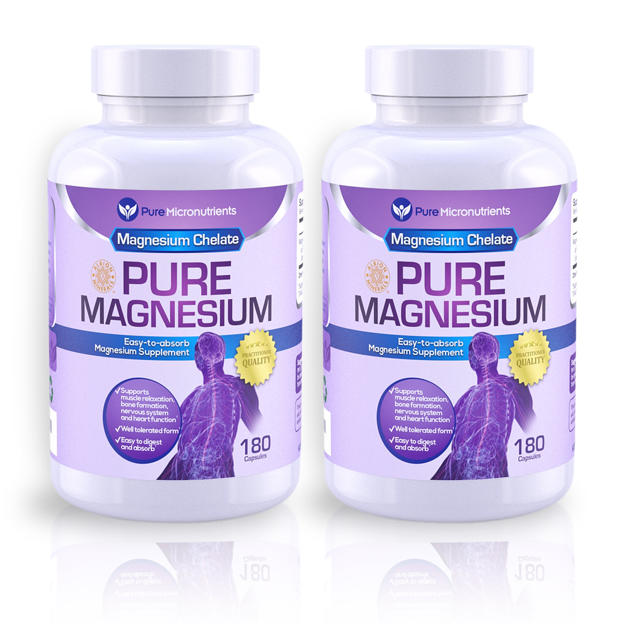 Magnesium Supplements, 200mg, 180ct - Best Buy Value 2-Pack (2) - Pure Micronutrients