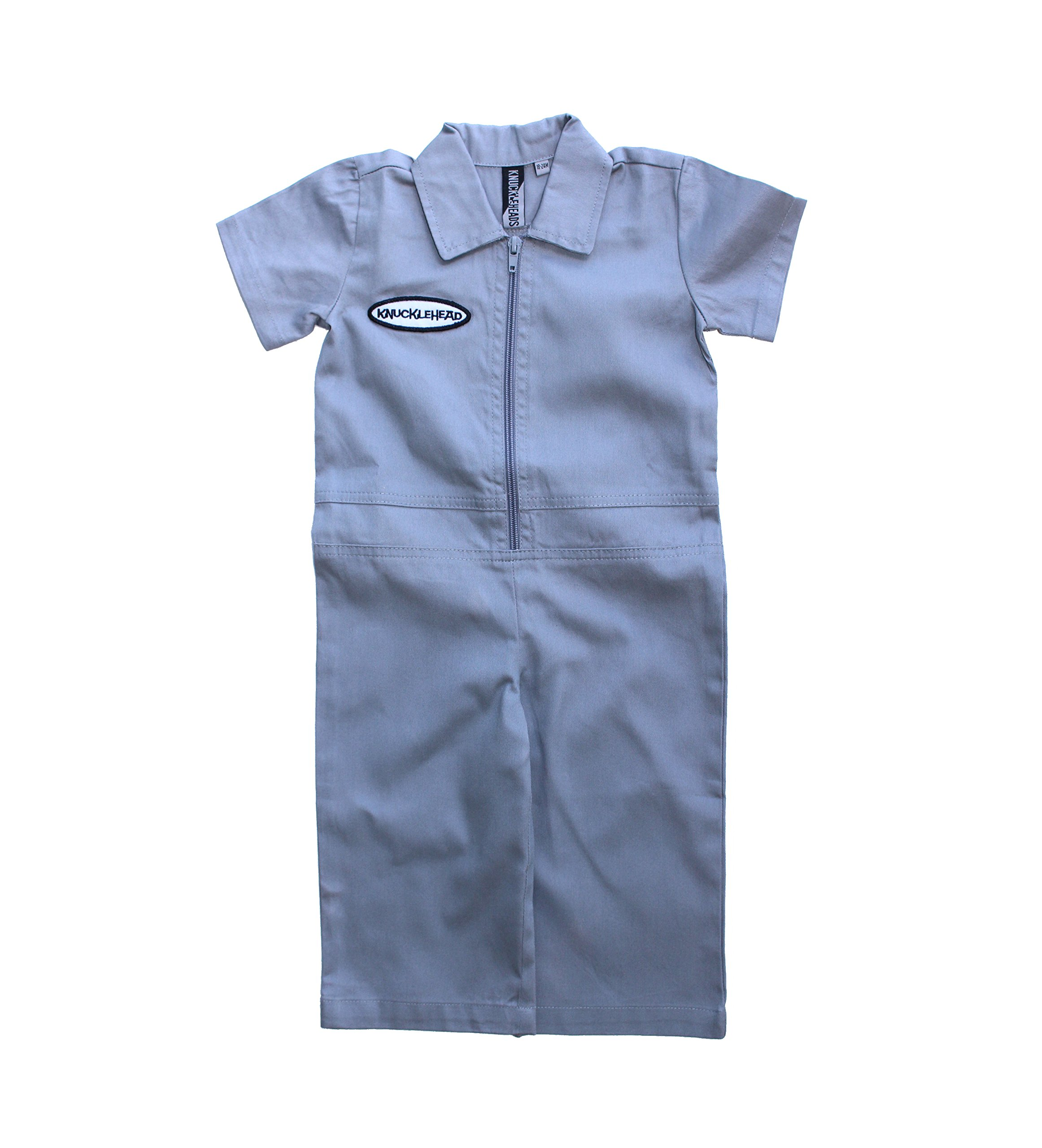 Born to Love Knuckleheads - Infant and Baby Boy Grease Monkey Coveralls (2T, Grey)