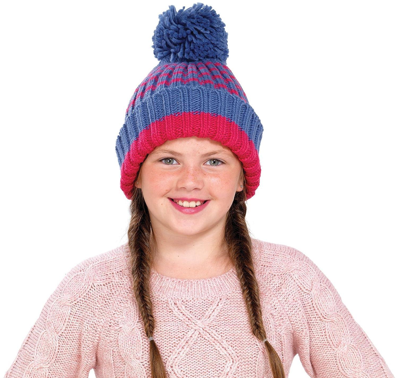 Octave Girls Denim Blue Striped Knitted Pom Pom//Bobble Hat