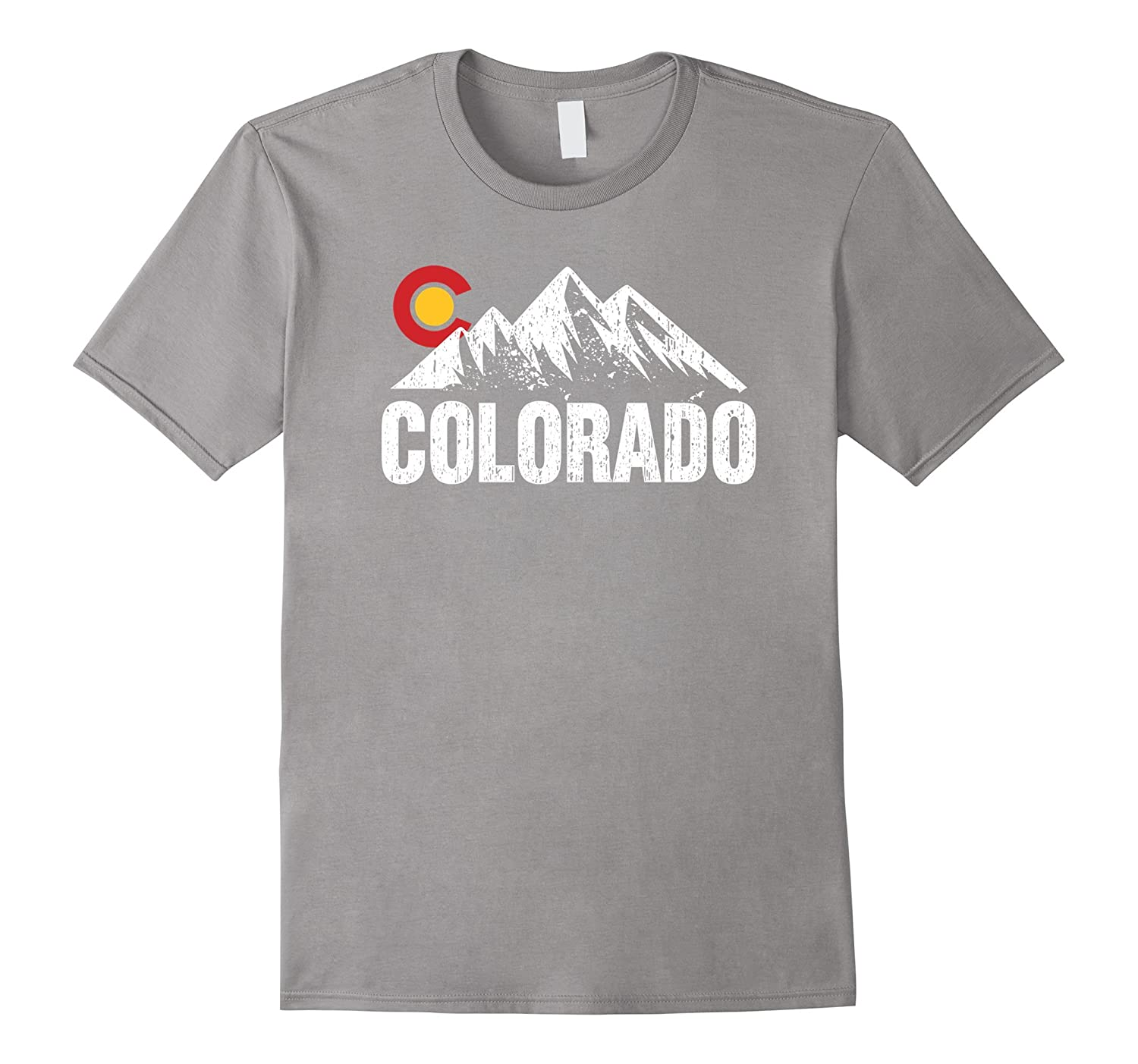 Distressed Colorado With Mountains Graphic T-shirt-FL