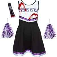 Red Star Zombie Cheerleader Costume Outfit with POM POMS - Fancy Dress Costume Sports HIGH School Musical Halloween Outfit - 6 Colours/Size 6-16