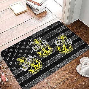 Linzsfe Navy Master Chief Petty Officer Non Slip Absorbent Resist Dirt Super Absorbent Door Mat Indoor Outdoor Welcome Doormat 40 X 60 cm