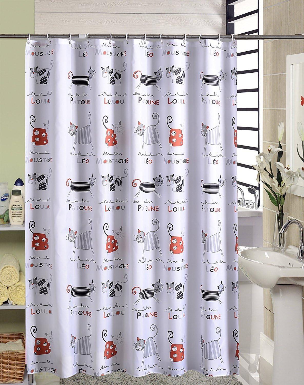 en blanco tama/ños 120, 150, 180, 200, 220, 240 x 200 cm con dobladillo reforzado y anillas 120 x 200 cm Cortina de ducha antimoho que repele el agua con dibujos de gatos para decorar el ba/ño