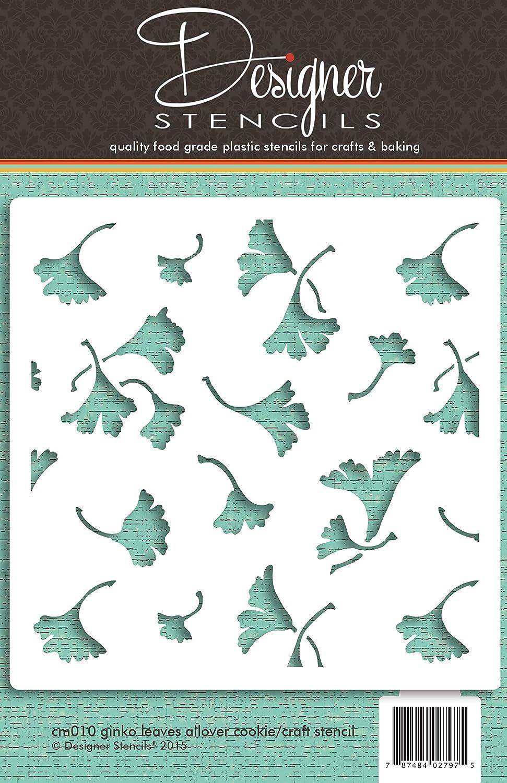 Ginko hojas Allover Cookie y Craft plantilla para estarcir cm010/by Designer plantillas