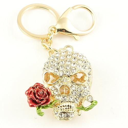 Amazon.com: Tono de oro diseño de calavera y rosa llavero ...
