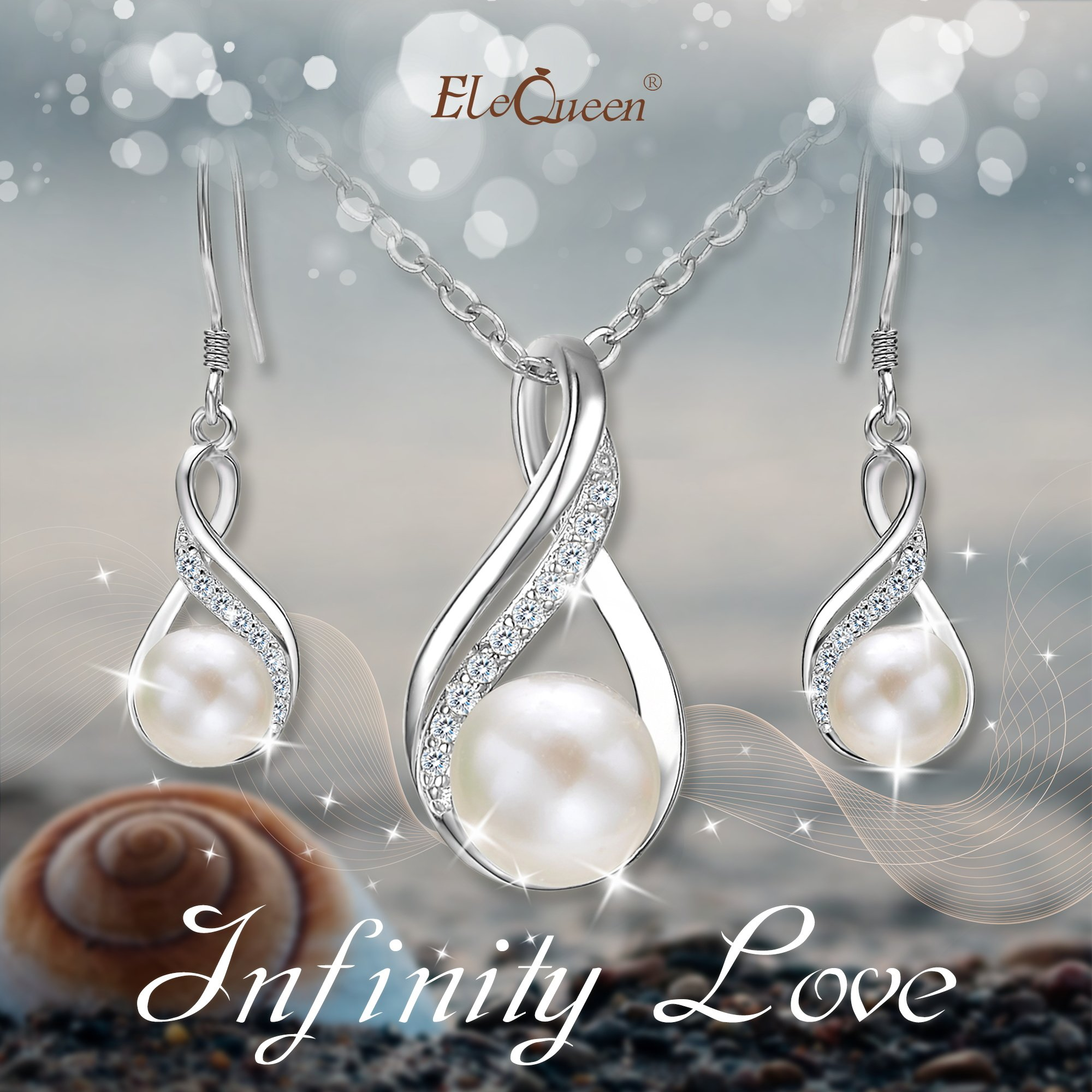 EleQueen 925 Sterling Silver CZ Cream Freshwater Cultured Pearl Infinity Bridal Necklace Hook Earrings Set Clear by EleQueen (Image #2)