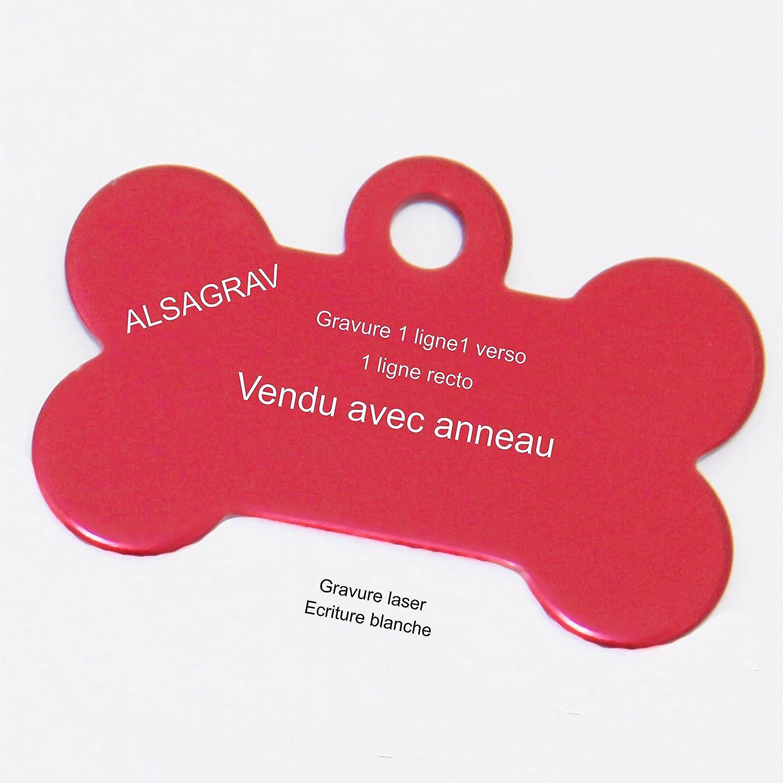 Médaille OS pour petit/moyen chien ou chat – 6 couleurs disponibles – GRAVURE OFFERTE Alsagrav