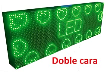 CARTEL LED PROGRAMABLE LETRERO LED PROGRAMABLE PANTALLA LED PROGRAMABLE (96*32 cm doble cara, VERDE) ROTULO LED PROGRAMABLE CARTEL ELECTRÓNICO ANUNCIA ...