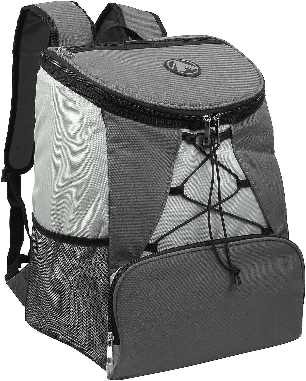 GigaTent Fully Insulated Interior Cooler Backpack 600D Adjustable Padded Shoulder Straps Bungee Cord Leakproof Water Resistant Cooler Extra Storage 2 Mesh Side Pocket