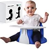 Upseat Baby Floor Seat Booster Chair with Tray Upright Posture and Healthy Hips (Blue)