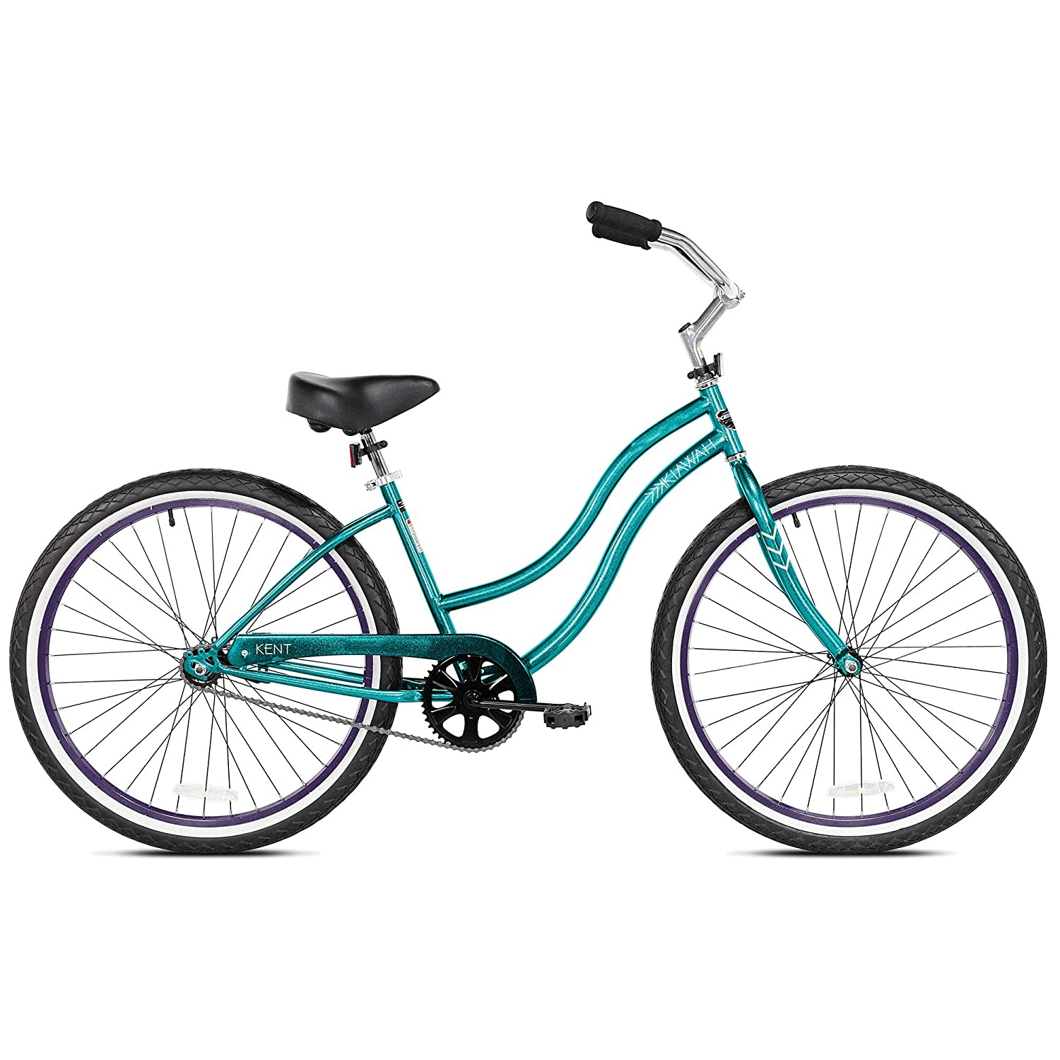 Kent International 26 Inch Back Wheel Kiawah Ladies Cruiser Street Bicycle, Teal