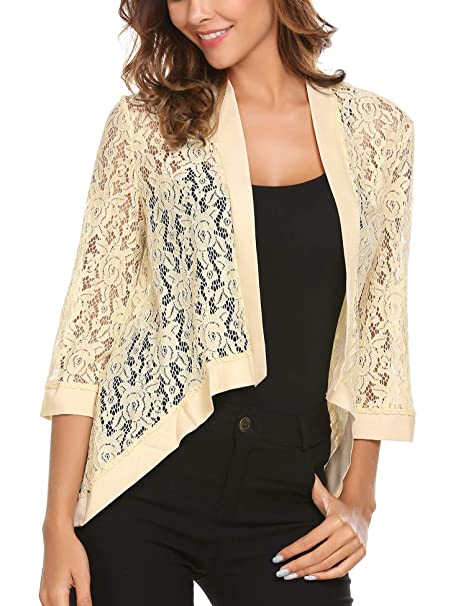 5f448bfec3 Image Unavailable. Image not available for. Color  Meanor Women Floral Lace  Cardigan Shrug 3 4 Sleeve Front Open Bolero Blouse ...