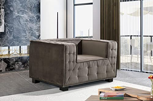 Iconic Home Bryant Accent Club Chair Velvet Upholstered Tufted Wide Armrest Tight Back Shelter Arm Design Espresso Finished Wooden Legs Modern Contemporary