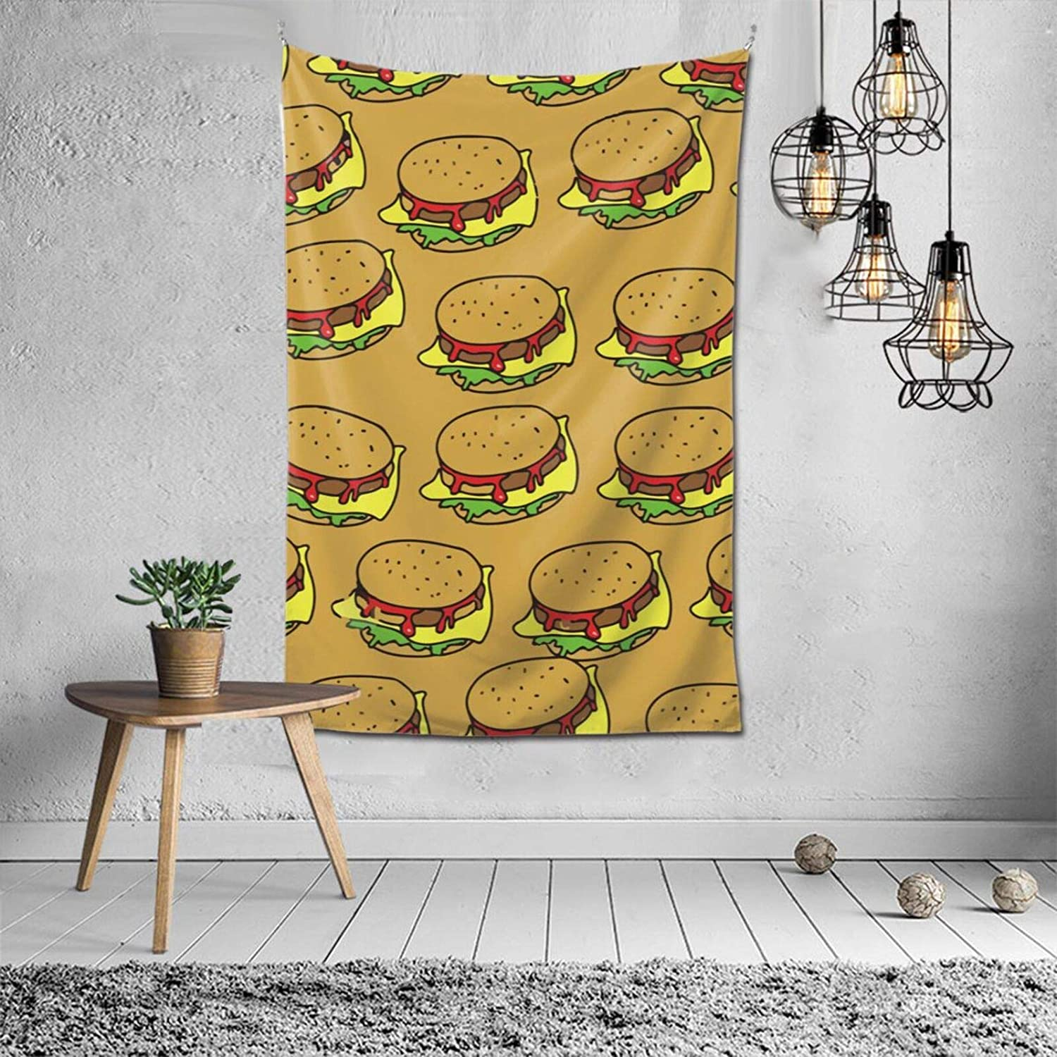 NiYoung Tapestry Wall Hanging Blanket Bedspread Beach Towels Picnic Mat Window Curtain Tapestries, Hamburger Junk Food, Wall Art Decoration for Bedroom, Living Room, Dorm