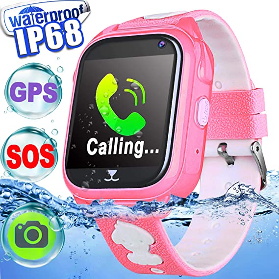 726172b3e IP68 Waterproof Kid Smart Watch Phone GPS Tracker Touch Screen Smartwatch  3-12 Year Girls