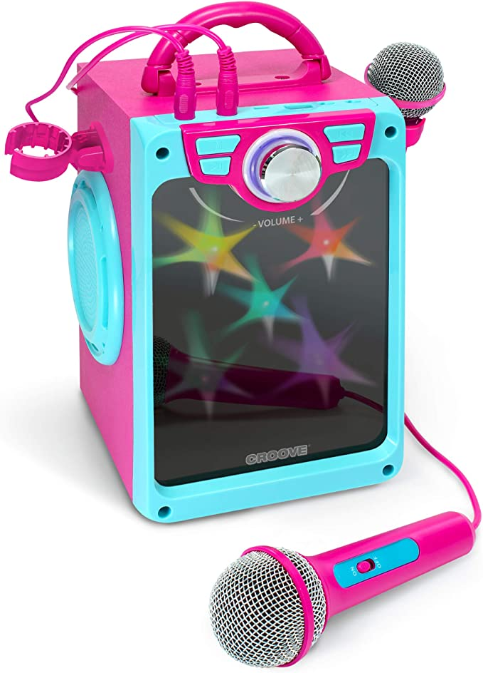 Croove Pop Box - Máquina de Karaoke para niños con 2 micrófonos y Luces de Discoteca parpadeantes Rosa