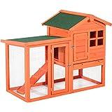 """Pawhut 48"""" Wooden Rabbit Hutch w/Ladder and Outdoor Run - Orange"""