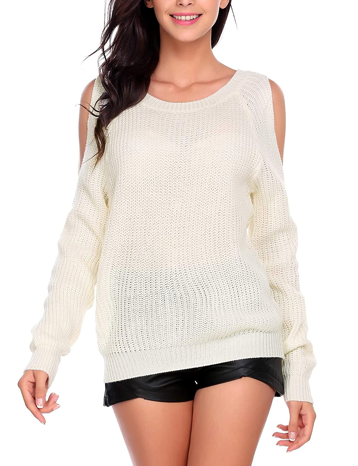 f4a232d756f BeautyUU Women Long Sleeve Ribbed Knit Cut Out Top Cold Open Shoulder  Sweater Blouse at Amazon Women s Clothing store