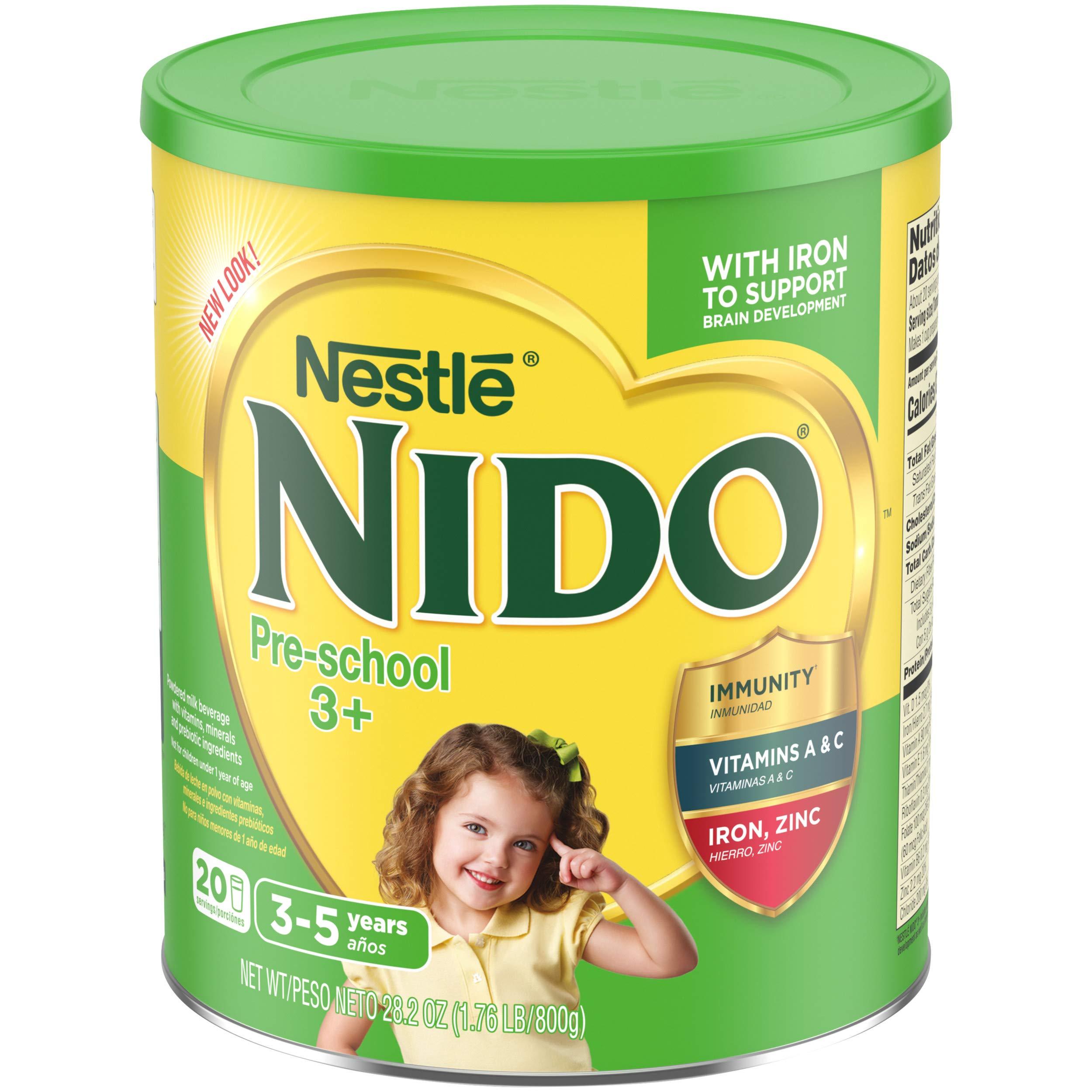 Nestle NIDO Pre-School 3+ Whole Milk Powder 1.76 lb. Canister | Powdered Milk Mix