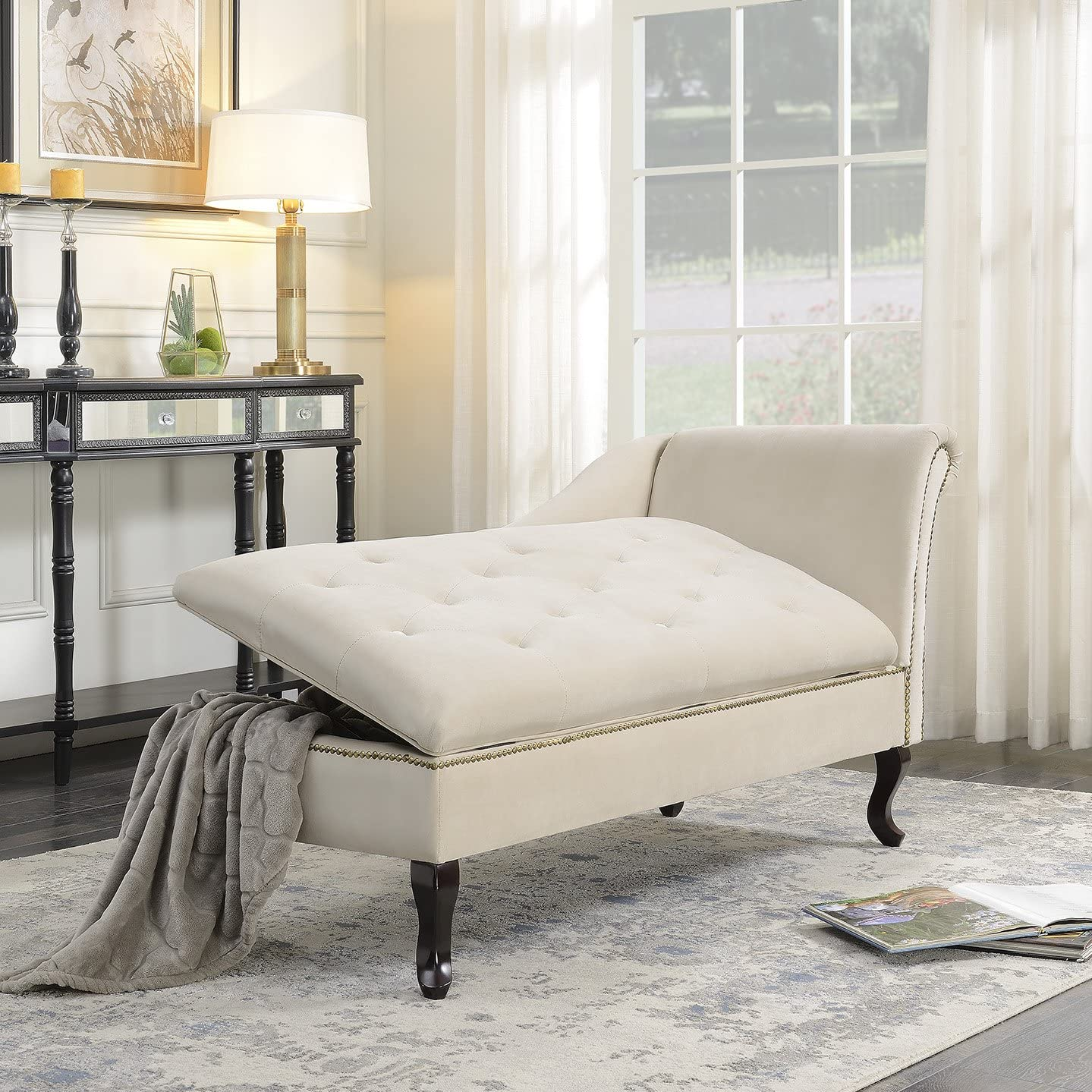 Nailhead Trim Fold Open Lid Storage Chaise Lounge Spa Chair Tufted Couch