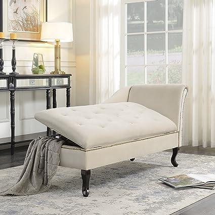 Amazon Com Belleze Nailhead Trim Velveteen Storage Spa Chaise