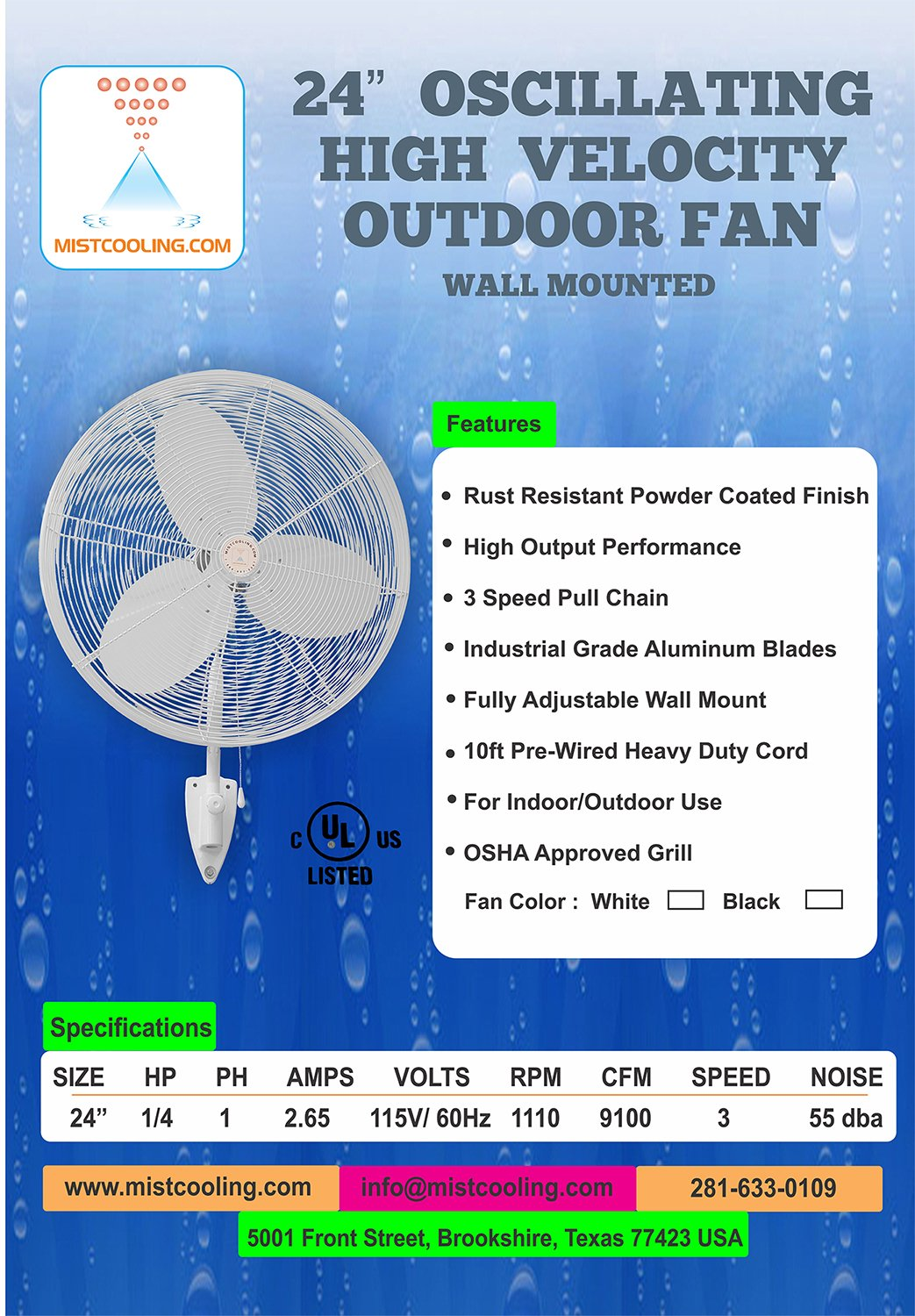 Mistcooling applications - Dust Suppression Misting System - For Construction Sites, Dump Sites, Industrial manufacturing sites - Portable Dust Suppression System (24 Inch Fan-250 PSI Pump)