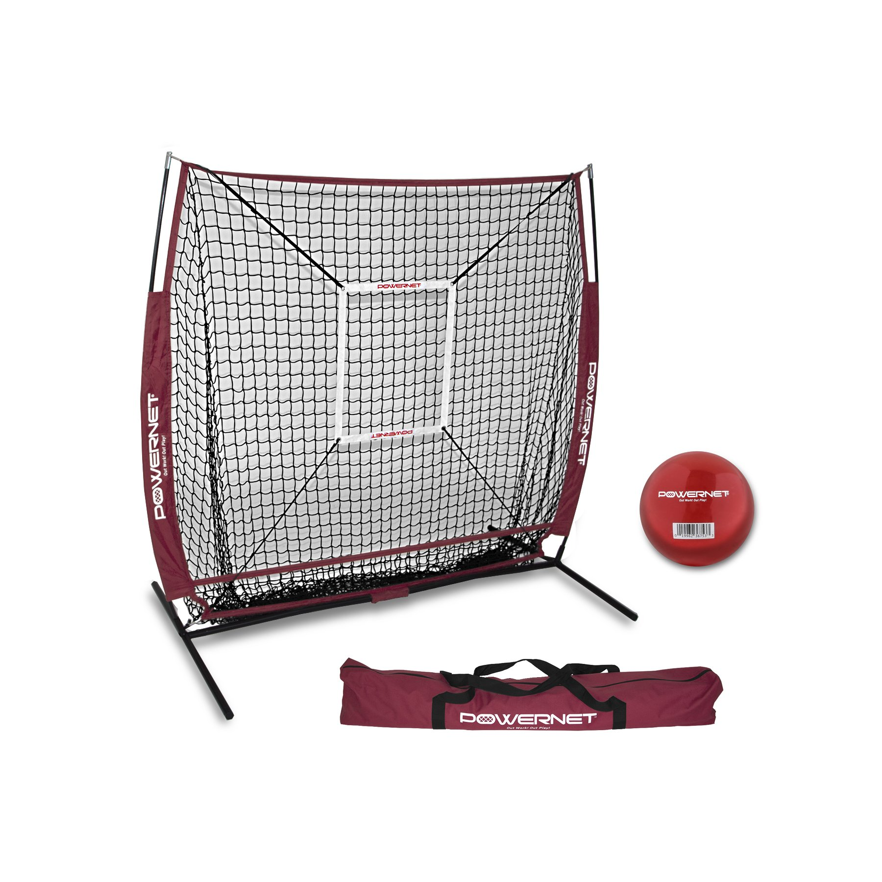 PowerNet 5x5 Practice Net + Strike Zone + Weighted Training Ball Bundle (Maroon) | Baseball Softball Coaching Aid | Compact Lightweight Ultra Portable | Team Color | Batting Screen by PowerNet