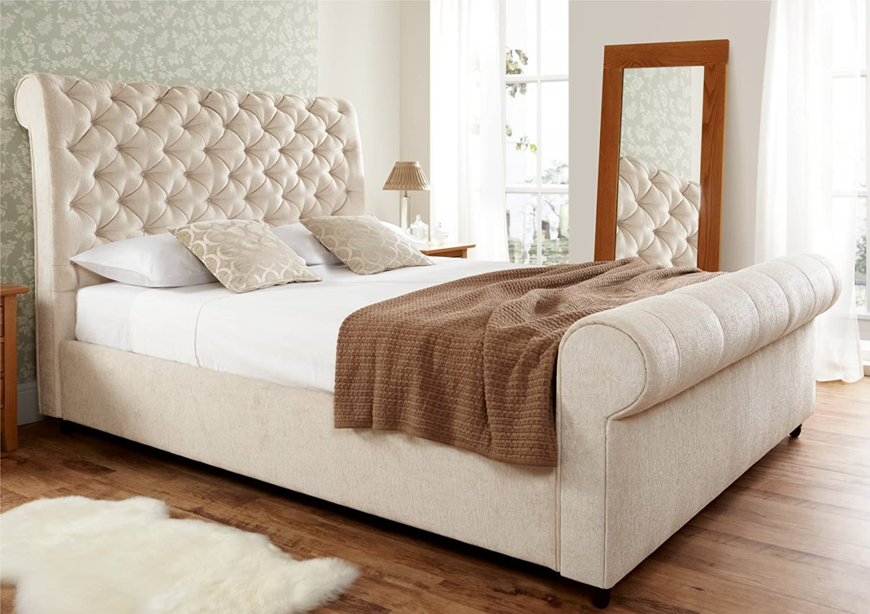 - Elegance Upholstered Sleigh Bed - Super King Size Bed Frame Only