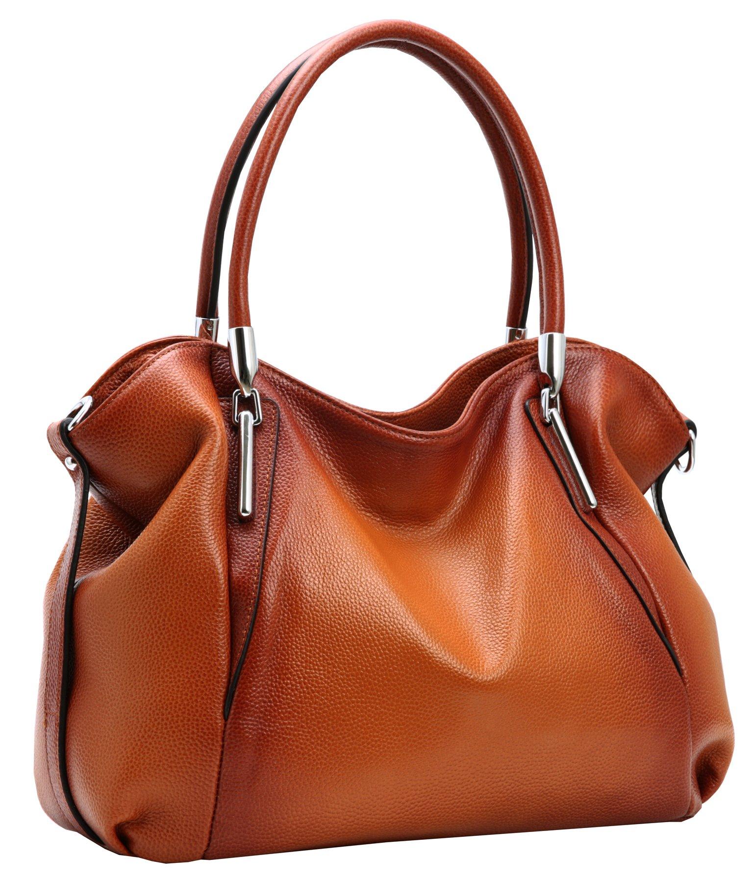 HESHE Womens Leather Handbags Tote Bag Top Handle Bag Hobo Shoulder Handbag Designer Ladies Purse Cross Body Bag (Sorrel)