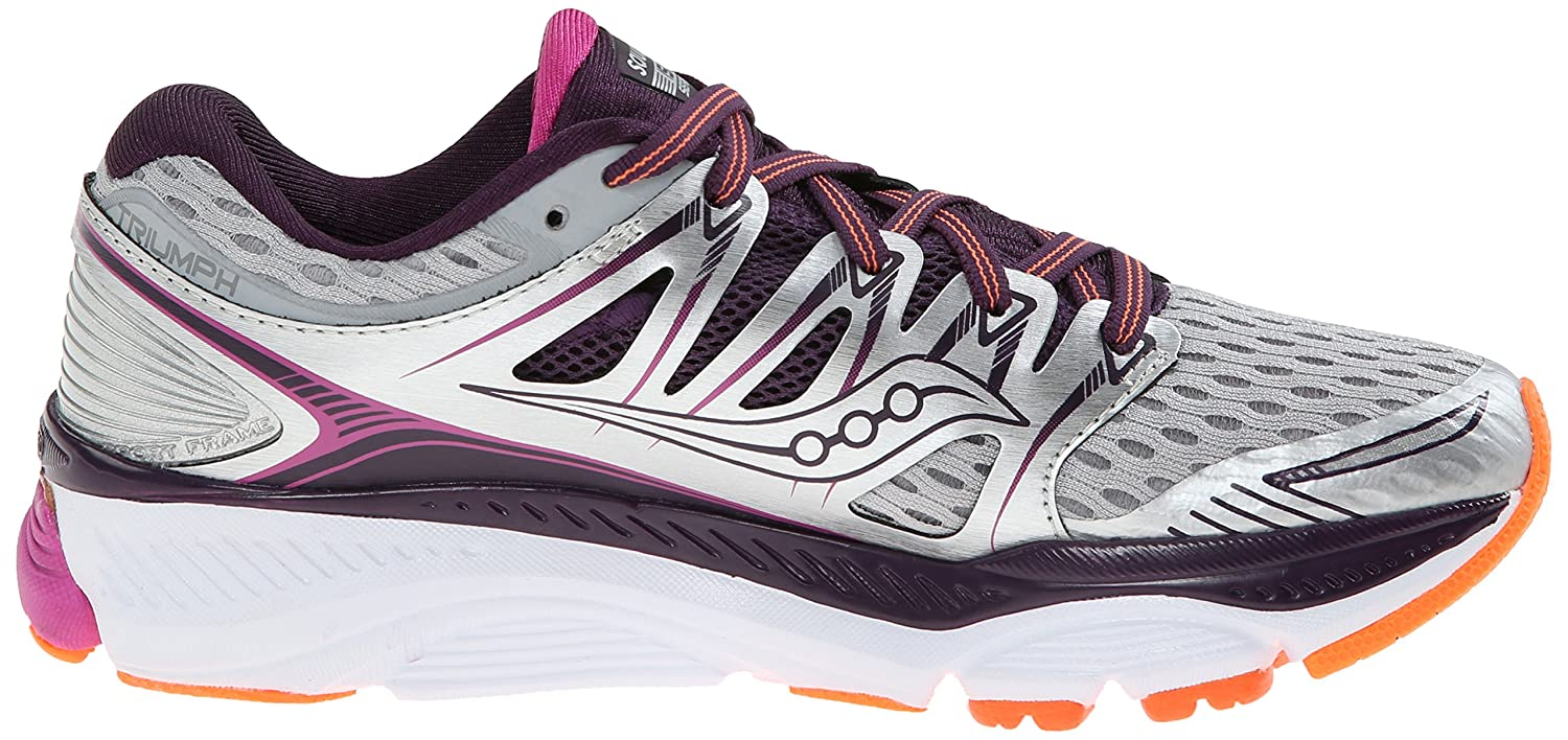 Saucony Women's Triumph ISO Running Shoe B00PIVSVPM 11 B(M) US|Silver/Purple/Orange