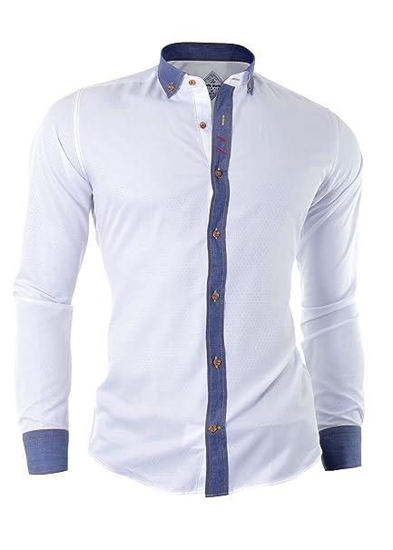 D&R Fashion intelligenten Mann Hemd mit Rauten Muster und  Manschettenknöpfe: Amazon.de: Bekleidung