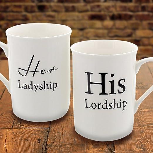 Her Ladyship His Lordship Mug Coffee Gift Mug Set 12oz Set Of 2 Porcelain Mugs