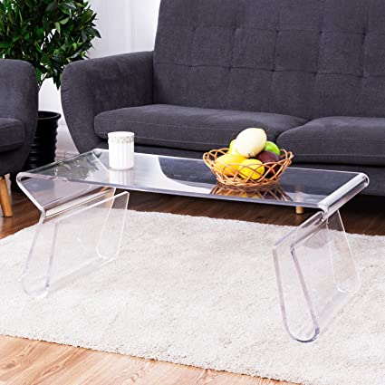 Tangkula Acrylic Coffee Table 38 Inch Clear Modern Accent Glam With  Integrated Magazine Rack End Table