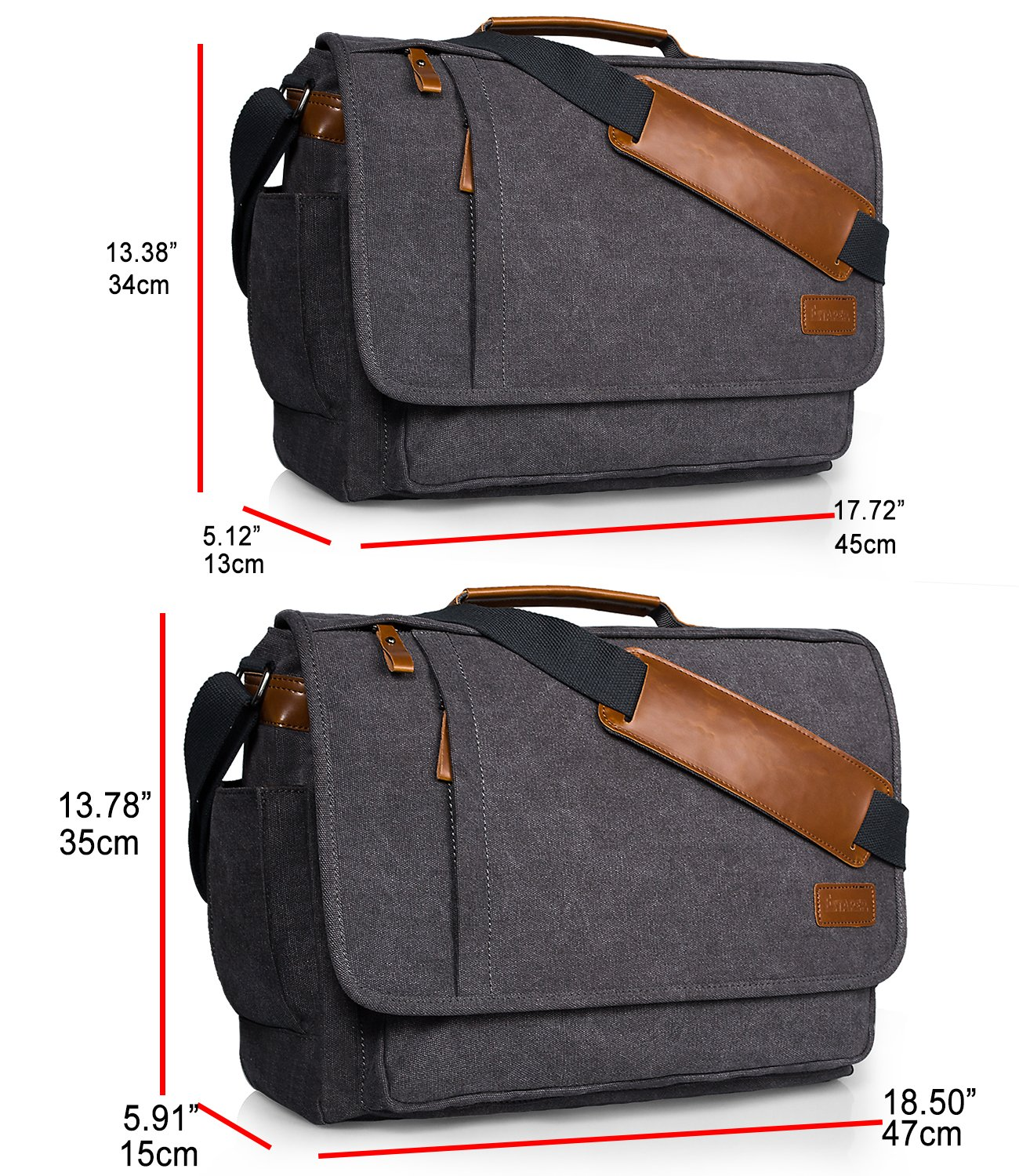 estarer  Estarer Laptop Messenger Bag 17-17.3 Inch Water-Resistance Canvas ...