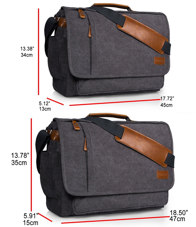 Estarer Laptop Messenger Bag 17-17.3 Inch Water-resistance Canvas Shoulder Bag for Work College by Estarer (Image #4)