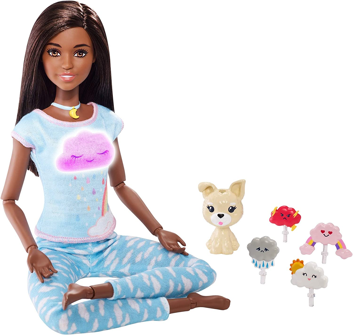 Barbie Breathe with Me Meditation Doll, Brunette, with 5 Lights & Guided Meditation Exercises, Puppy and 4 Emoji Accessories, Gift for Kids 3 to 8 Years Old