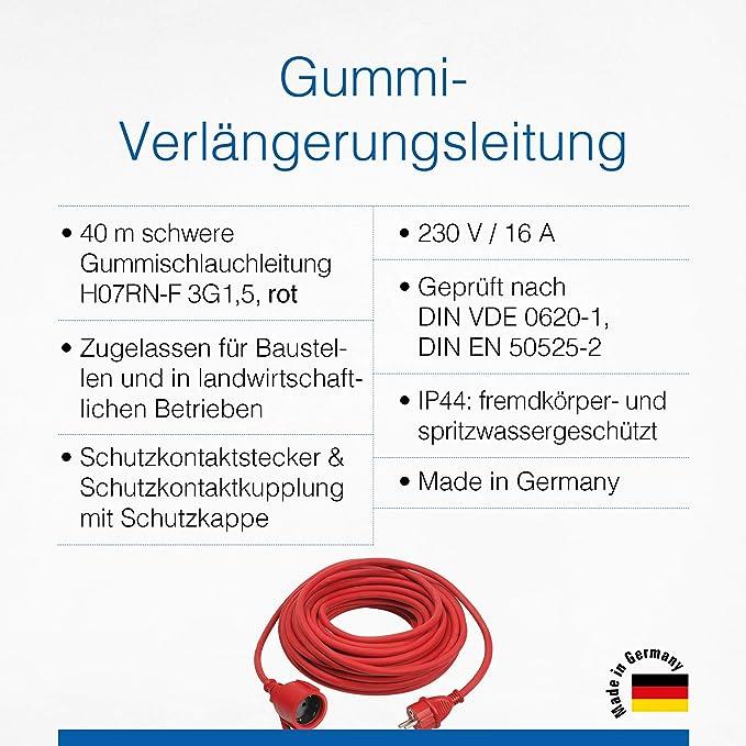 As Schwabe Gummi Verlängerungsleitung 40 M Kabel Mit Schutzkontaktwickelstecker Schutzkontaktkupplung Inkl Schutzkappe 230 V 16 A Verlängerungskabel Ip44 Made In Germany Rot I 60374 Baumarkt