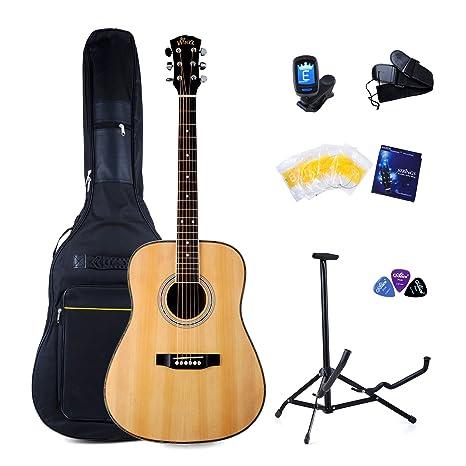 winzz acústica guitarra Pack Kit para principiantes (tamaño completo Dreadnought 41 inch Folk Country con
