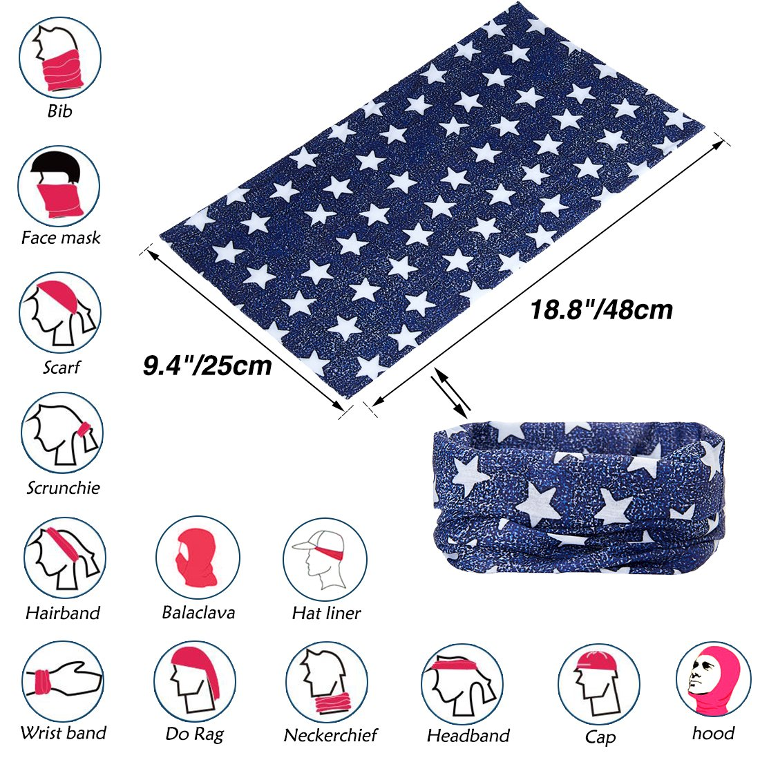TUONROAD Printed Womens Plain Navy Blue White Stars Magic Neck Headband Scarf Mens Multifunctional Festival Fishing Stretchy Tube Face Sun Mask for Workout Running Skiing Riding Hunting Riding